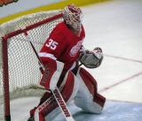Jimmy Howard stands in his crease during pre-game warmups.