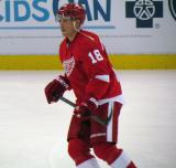 Joakim Andersson skates during pre-game warmups.