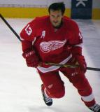 Pavel Datsyuk skates at the blue line during pre-game warmups.