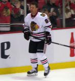 Brad Richards of the Chicago Blackhawks skates along the boards during pre-game warmups before a game against the Detroit Red Wings.