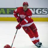 Drew Miller skates during pre-game warmups.