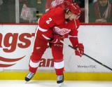 Brendan Smith stickhandles near the boards during pre-game warmups.