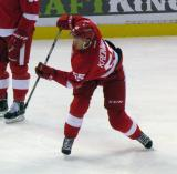 Niklas Kronwall fires a shot on net during pre-game warmups.