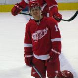 Gustav Nyquist stands at the blue line during pre-game warmups.