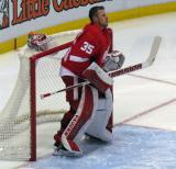 "Jimmy Howard stands in his crease prior to the singing of ""The Star-Spangled Banner."""