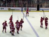 The Red Wings salute their fans after a win over the Chicago Blackhawks.