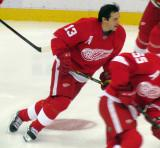 Pavel Datsyuk skates in the neutral zone during pre-game warmups.