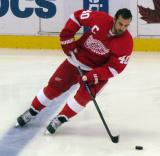 Henrik Zetterberg skates across the blue line during pre-game warmups.