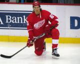 Danny DeKeyser kneels near the boards during pre-game warmups.