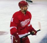 Jakub Kindl stands at the blue line during pre-game warmups.