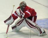 Petr Mrazek reaches out as he faces a shot during pre-game warmups.