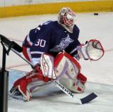 Tom McCollum comes out to the top of his crease during pre-game warmups before the Grand Rapids Griffins' Purple Game.