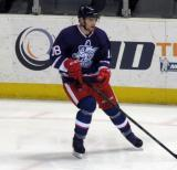 Brian Lashoff skates through the faceoff circle during pre-game warmups before the Grand Rapids Griffins' Purple Game.
