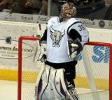 Dan Ellis of the San Antonio Rampage leans back against his goal prior to a game against the Grand Rapids Griffins.