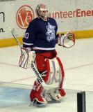 Tom McCollum stands at the top of his crease during a stop in play in the Grand Rapids Griffins' Purple Game.
