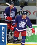 Nathan Paetsch and Anthony Mantha step onto the ice for the second period of the Grand Rapids Griffins' Purple Game.
