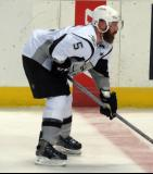Greg Zanon of the San Antonio Rampage gets set for a faceoff in a game against the Grand Rapids Griffins.