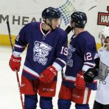 Tomas Nosek and Kevin Porter talk during a stop in play in the Grand Rapids Griffins' Purple Game.