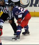 Andreas Athanasiou gets set for a faceoff during the Grand Rapids Griffins' Purple Game.