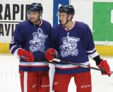 Brian Lashoff and Anthony Mantha look up-ice during a stop in play in the Grand Rapids Griffins' Purple Game.