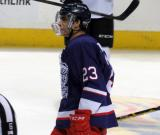 Andreas Athanasiou skates during a stop in play in the Grand Rapids Griffins' Purple Game.
