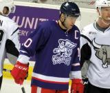 Jeff Hoggan skates during a stop in play in the Grand Rapids Griffins' Purple Game.