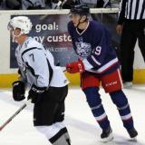 Tomas Nosek trails Blake Parlett of the San Antonio Rampage during the Grand Rapids Griffins' Purple Game.
