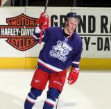 Teemu Pulkkinen salutes the fans as the first star of the Grand Rapids Griffins' Purple Game.