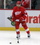 Tomas Tatar skates near the boards during pre-game warmups.