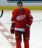 Erik Cole skates at center ice during pre-game warmups.
