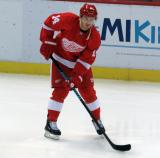 Gustav Nyquist skates with the puck during pre-game warmups.