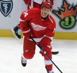 Gustav Nyquist skates during pre-game warmups.