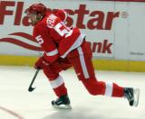 Niklas Kronwall skates near the boards during pre-game warmups.