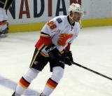 Corey Potter of the Calgary Flames skates during pre-game warmups before a game against the Detroit Red Wings.