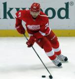 Tomas Tatar skates with the puck during pre-game warmups.