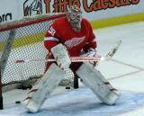 Jonas Gustavsson gets set in his crease during pre-game warmups.