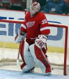 Jimmy Howard stands in his crease before the start of the second period.