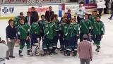 The Plymouth Whalers gather at center ice following the last game in franchise history.