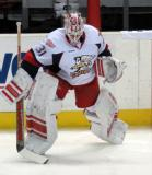 Jared Coreau skates near the boards during pregame warmups before a Grand Rapids Griffins game.