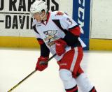 Alexey Marchenko skates across the blue line during pregame warmups before a Grand Rapids Griffins game.