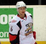 Teemu Pulkkinen skates during pregame warmups before a Grand Rapids Griffins game.
