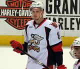 Anthony Mantha stands on the ice during pregame warmups before a Grand Rapids Griffins game.