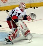 Jared Coreau comes out to the top of his crease during pregame warmups before a Grand Rapids Griffins game.
