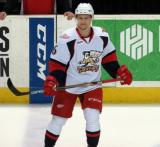 Teemu Pulkkinen skates along the blue line during pregame warmups before a Grand Rapids Griffins game.