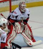 Tom McCollum stands at the edge of his crease during a stop in play in a Grand Rapids Griffins game.