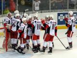 The Grand Rapids Griffins stream onto the ice to celebrate a win over the Rockford IceHogs.