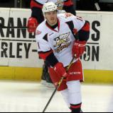 Zach Nastasiuk skates during pre-game warmups before a Grand Rapids Griffins game.