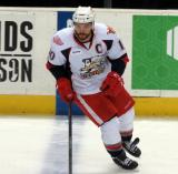 Jeff Hoggan skates at the blue line during pre-game warmups before a Grand Rapids Griffins game.