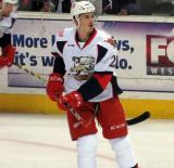 Louis-Marc Aubry skates during pre-game warmups before a Grand Rapids Griffins game.