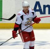 Teemu Pulkkinen skates in the neutral zone during pre-game warmups before a Grand Rapids Griffins game.